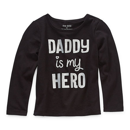 Okie Dokie Toddler Girls Round Neck Long Sleeve Graphic T-Shirt, 2t , Black