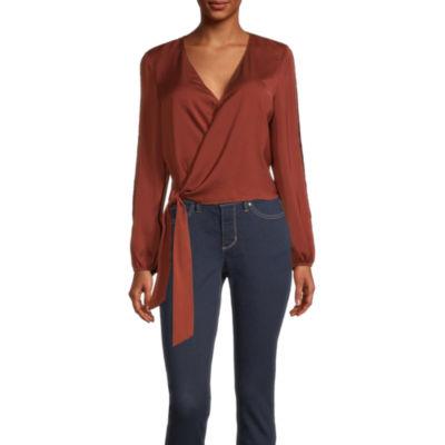 Bold Elements Womens V Neck Long Sleeve Wrap Shirt