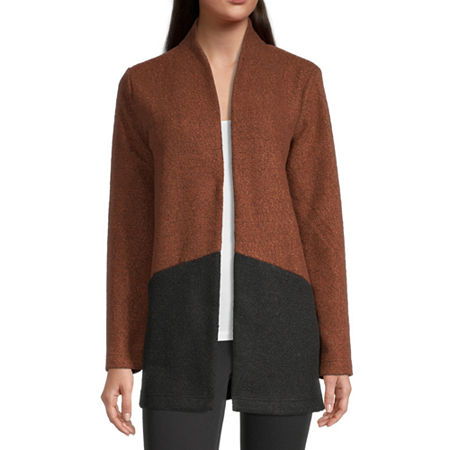 Liz Claiborne Womens Long Sleeve Open Front Cardigan, X-small , Brown