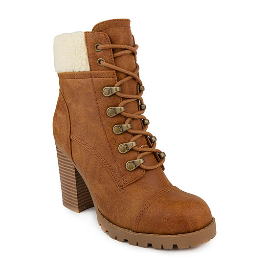 Sugar Womens Rory Lace Up Block Heel Boots