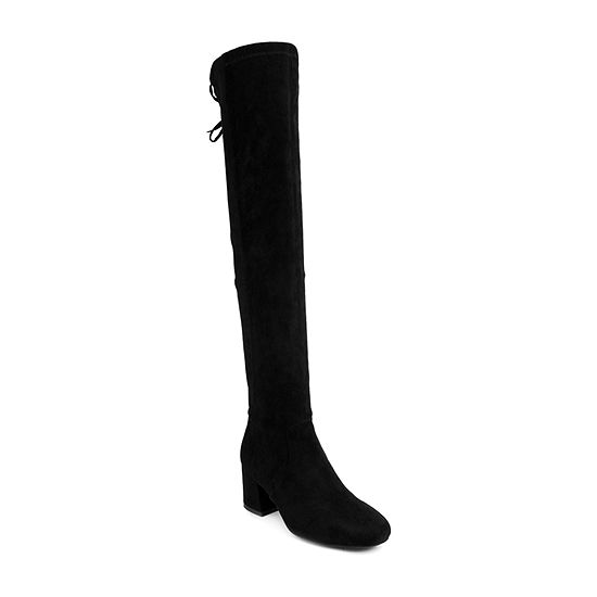 Sugar Womens Ollie Over the Knee Block Heel Boots