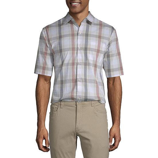 Van Heusen Air Mens Short Sleeve Moisture Wicking Checked Button-Down Shirt