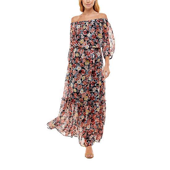 Premier Amour 3/4 Sleeve Off The Shoulder Floral Maxi Dress