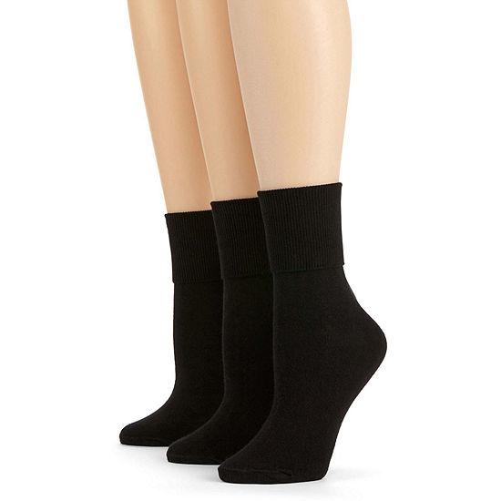 Mixit 3 Pack Mary Jane Turn-Cuff Socks- Womens
