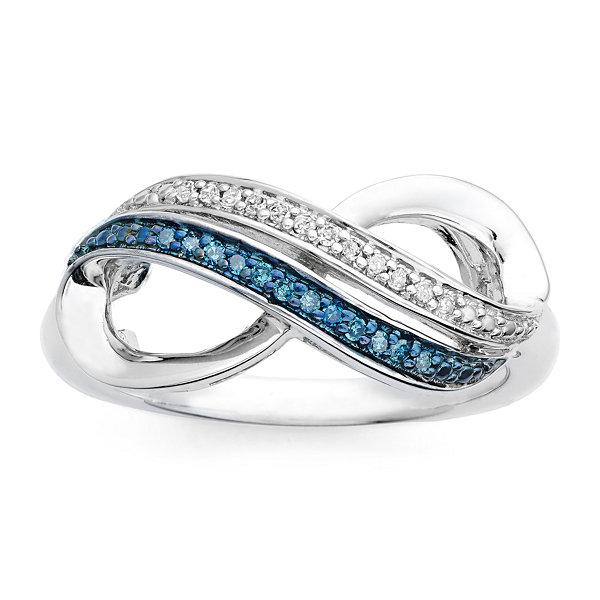 Fine Jewelry Infinite Promise 1/10 CT TW White & Color-Enhanced Blue Diamond Pendant Necklace NaHce47ZyQ