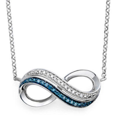 Infinite Promise 1/10 CT TW White & Color-Enhanced Blue Diamond Pendant Necklace