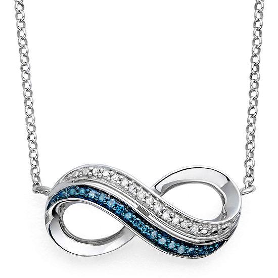 Infinite Promise 1/10 CT TW White & Color-Enhanced Blue Diamond Pendant Necklace