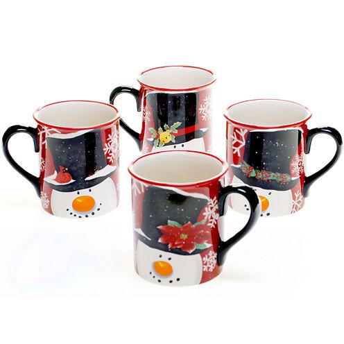 Certified International Top Hat Snowman Set of 4 Mugs