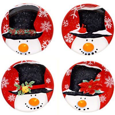 Certified International Top Hat Snowman Set of 4 Canapé Plates