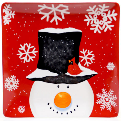 Certified International Top Hat Snowman Large Square Serving Platter