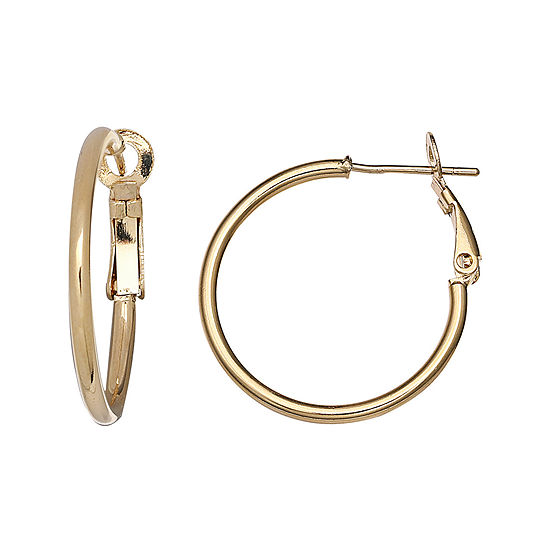 14K Yellow Gold Over Sterling Silver Hoop Earrings
