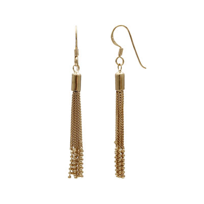 14K Yellow Gold Over Sterling Silver Chain Tassel Drop Earrings