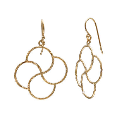 14K Yellow Gold Over Sterling Silver Flower Drop Earrings