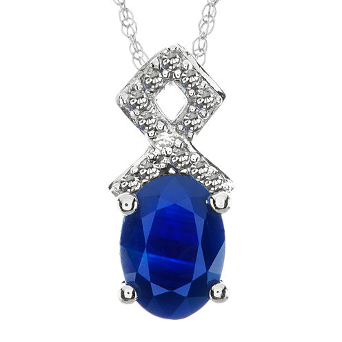 Lab-Created Blue Sapphire and Diamond-Accent 10K White Gold Split-Bail Pendant Necklace
