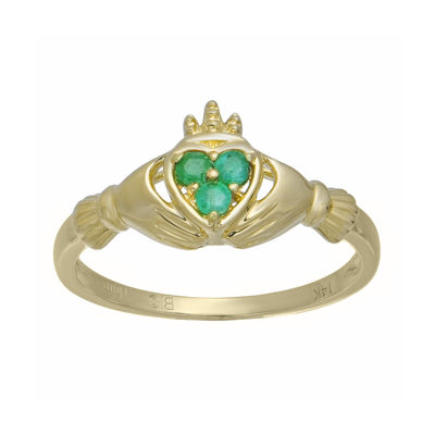 shaped genuine emerald 10k yellow gold claddagh ring