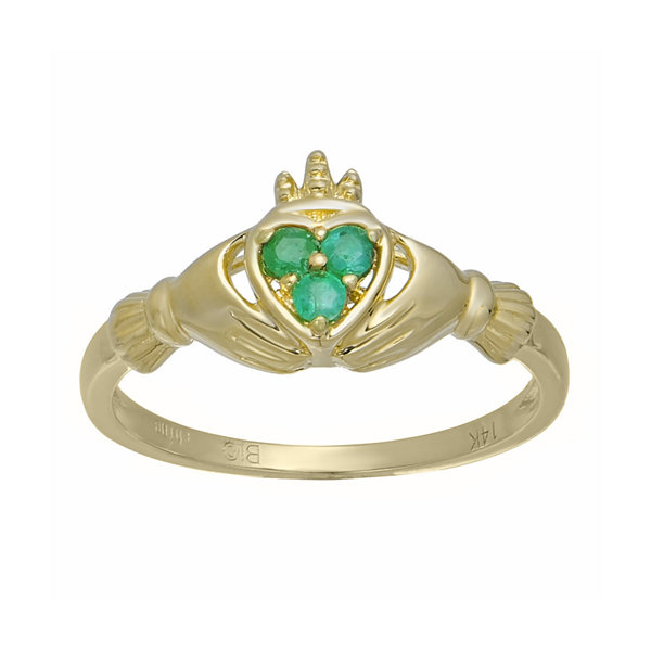 Heart Shaped Genuine Emerald 10K Yellow Gold Claddagh Ring JCPenney