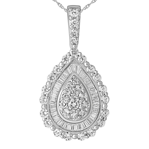 1 CT. T.W. Diamond 14K White Gold Pear-Shaped Pendant Necklace