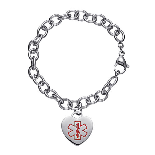 Personalized Stainless Steel Medical Heart Bracelet
