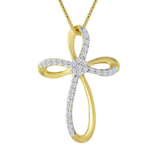 diamond blossom 1/4 CT. T.W. Diamond 14K Yellow Gold Over Sterling Silver Cross Pendant Necklace