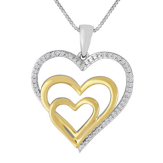 ForeverMine® 1/10 CT. T.W. Diamond Two-Tone Triple-Heart Pendant Necklace