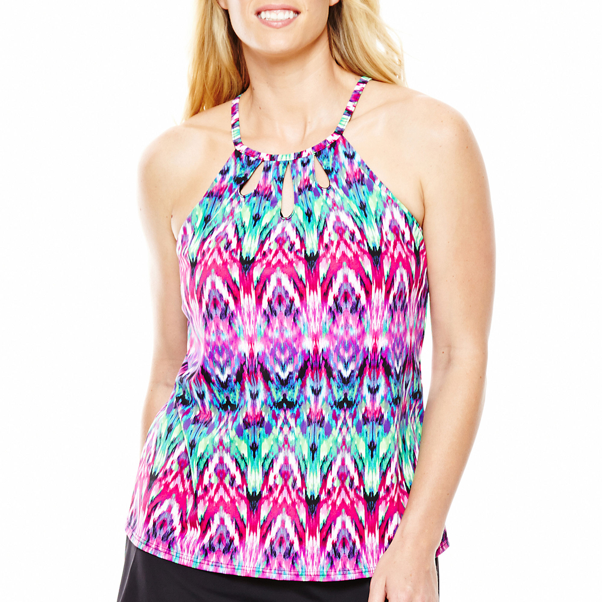 Jamaica Bay High-Neck Halterkini Swim Top - Plus plus size,  plus size fashion plus size appare