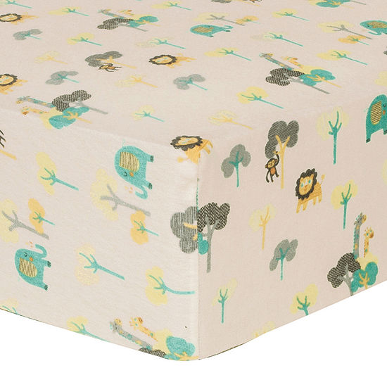 Trend Lab® Lullaby Jungle Fitted Flannel Crib Sheet