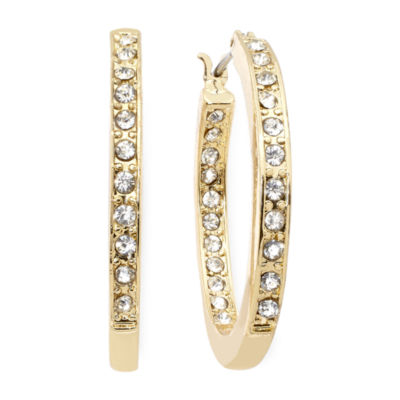Monet® Crystal Gold-Tone Hoop Earrings