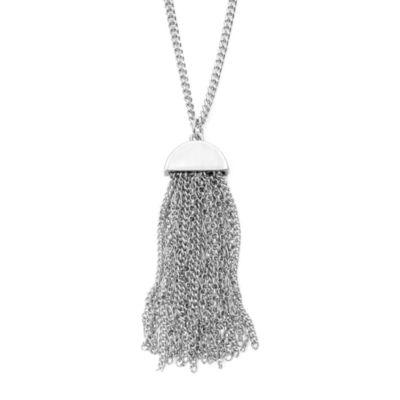 Liz Claiborne® Silver-Tone Tassel Pendant Necklace