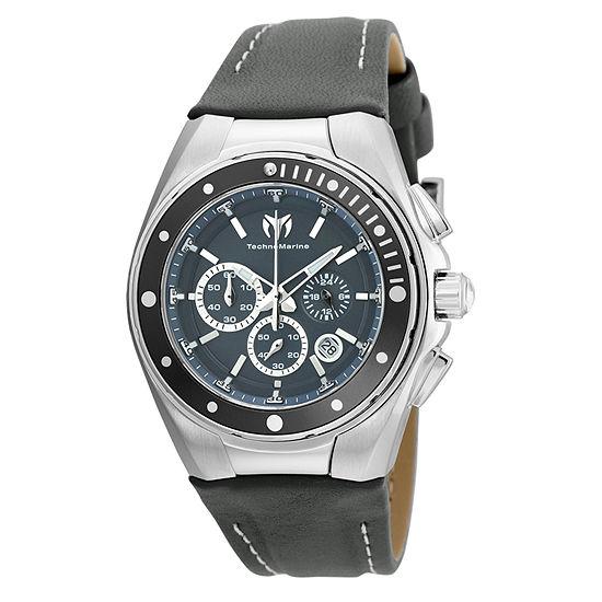 Techno Marine Womens Gray Leather Strap Watch-Tm-215036