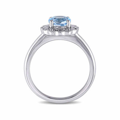 Womens Genuine Blue Topaz 10K Gold Cocktail Ring