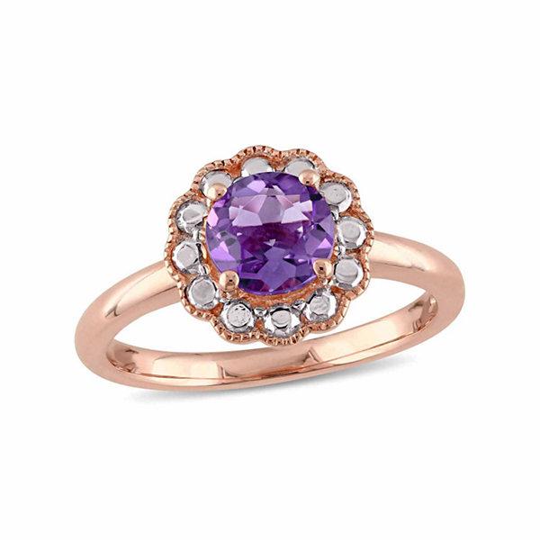 Fine Jewelry Womens Purple Amethyst 10K Gold Cocktail Ring UrC2ce