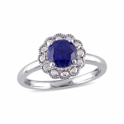 Womens Lab Created Blue Sapphire 10K Gold Cocktail Ring