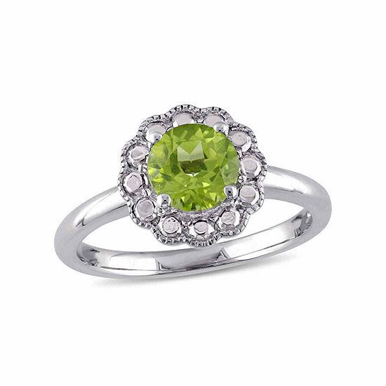 Womens Genuine Green Peridot 10K Gold Cocktail Ring