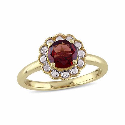 Womens Genuine Red Garnet 10K Gold Cocktail Ring