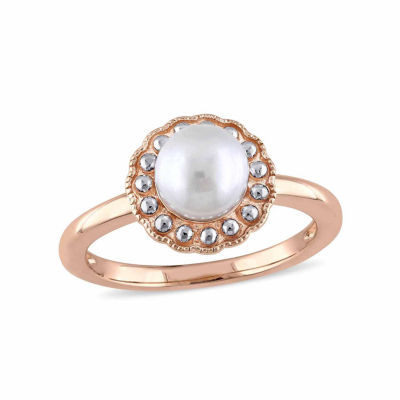 Womens 6.5-7MM Genuine White Cultured Freshwater Pearl 10K Gold Cocktail Ring