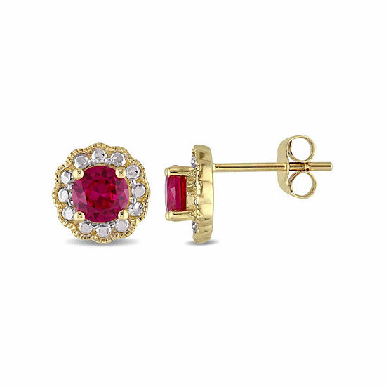 Round Lab-Created Red Ruby Stud Earrings in 10K Gold