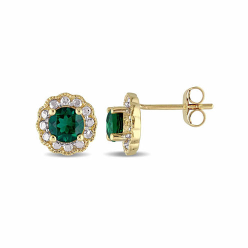 Round Lab Created Emerald 10K Gold Stud Earrings