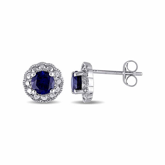 Lab Created Blue Sapphire 10k Gold 88mm Stud Earrings