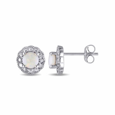 Round White Opal 10K Gold Stud Earrings