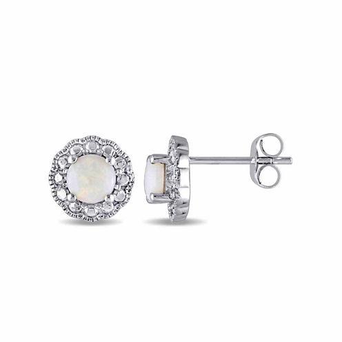 Round White Opal 10K Gold Stud Earrings
