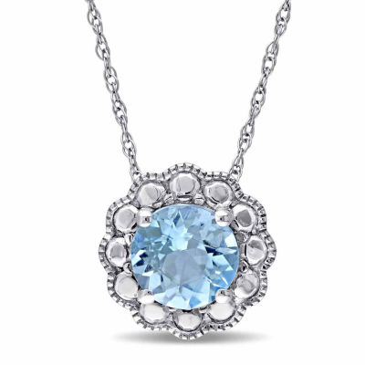 Womens 17 Inch Blue Blue Topaz 10K Gold Link Necklace