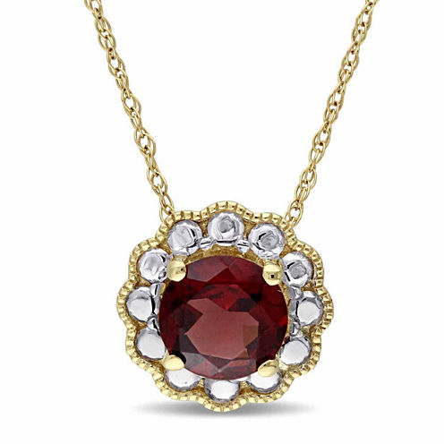 Womens 17 Inch Red Garnet 10K Gold Link Necklace