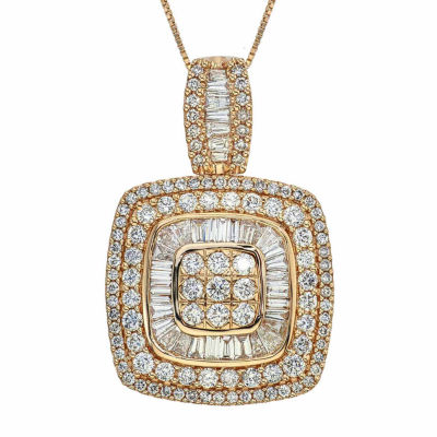 2 CT. T.W. Certified Diamond 14K Yellow Gold Pendant Necklace