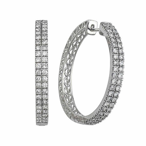 1 1/2 CT. T.W. White Diamond 14K Gold Hoop Earrings