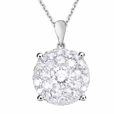 Womens 3/4 CT. T.W. Genuine White Diamond 14K Gold Pendant Necklace
