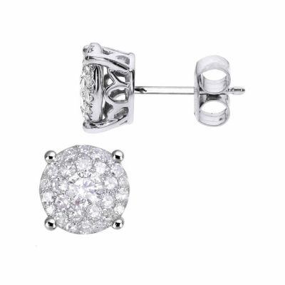 1 1/2 CT. T.W. Round White Diamond 14K Gold Stud Earrings