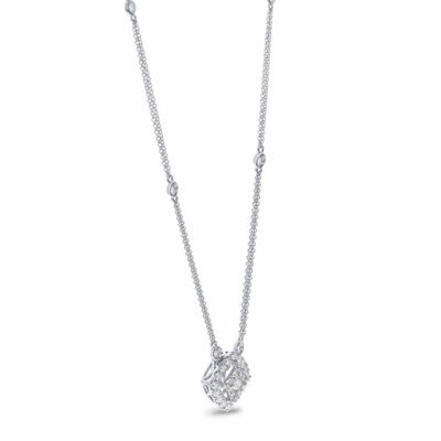 Womens 1 CT. T.W. Genuine White Diamond 14K Gold Pendant Necklace