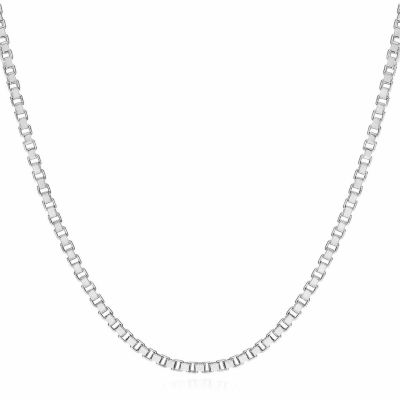 """Made in Italy 14K White Gold 1.4mm Venetian 18"""" Box Chain Necklace"""