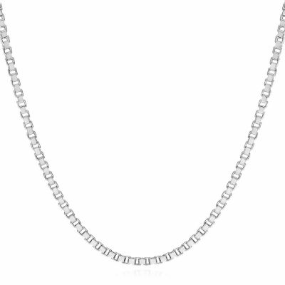 "14K White Gold 1.4mm Venetian 22"" Box Chain Necklace"