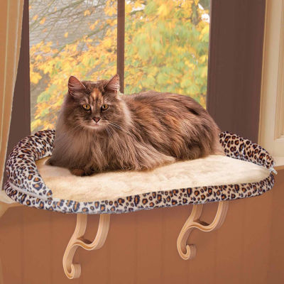 """K & H Manufacturing Deluxe Kitty Sill with Bolster - Leopard - 14"""" x 24"""" x 10"""""""